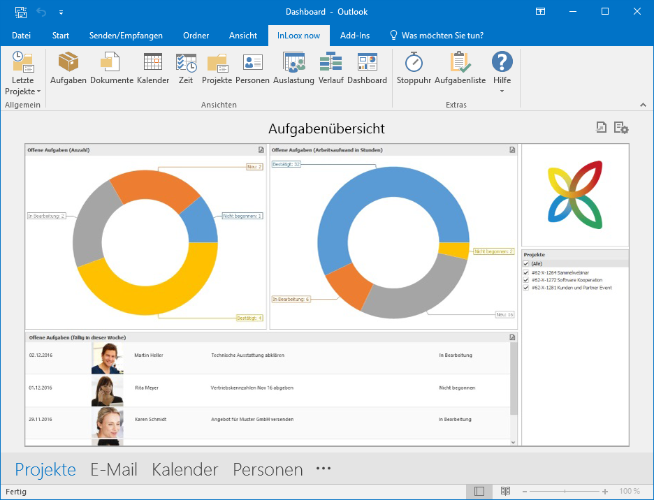 <b>Dashboards</b> – Projektübergreifende Transparenz, direkt in Outlook